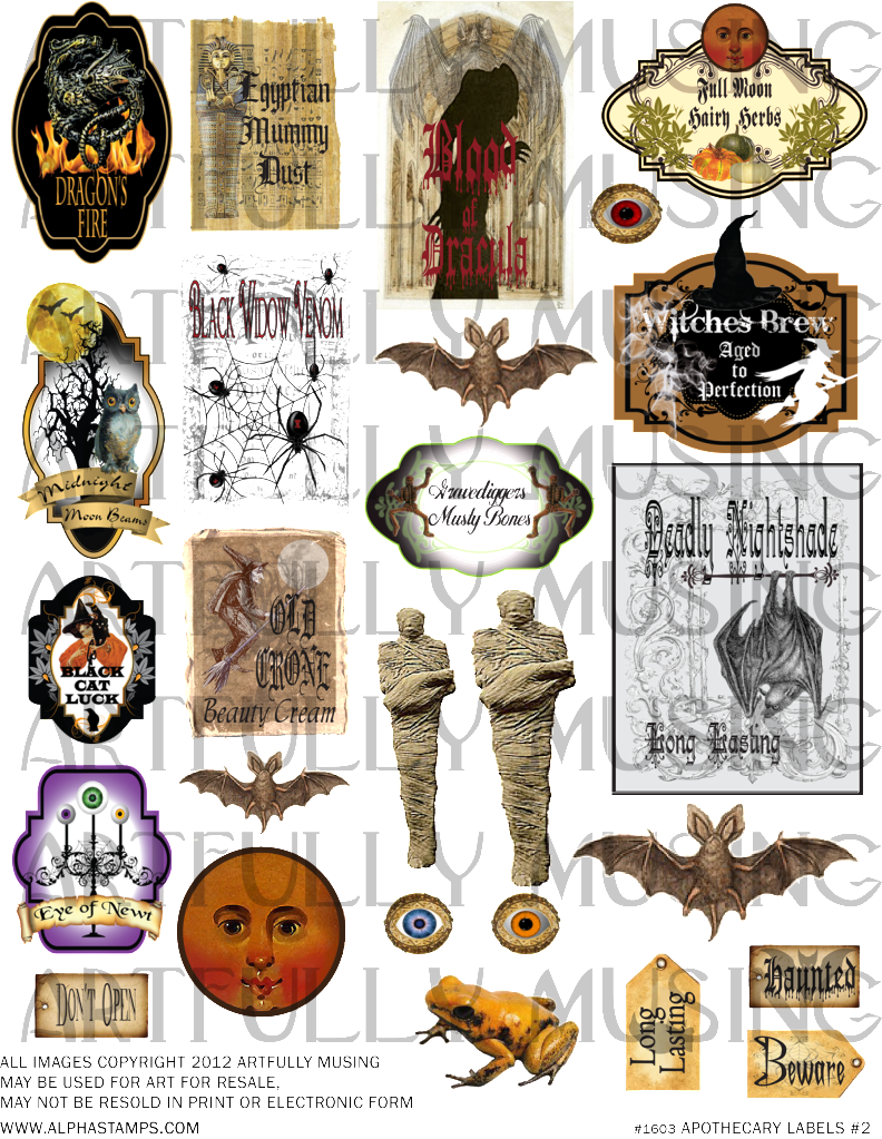 Label clipart apothecary. Artfully musing witches labels