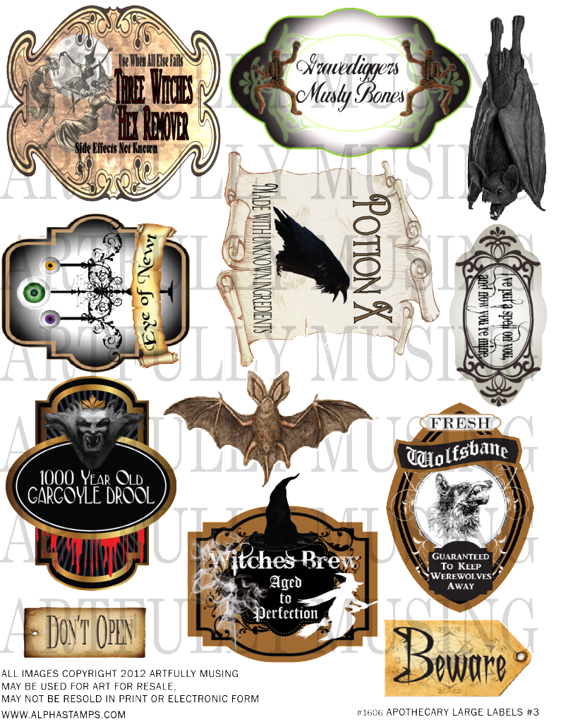 Artfully musing collage sheets. Poison clipart potion ingredient
