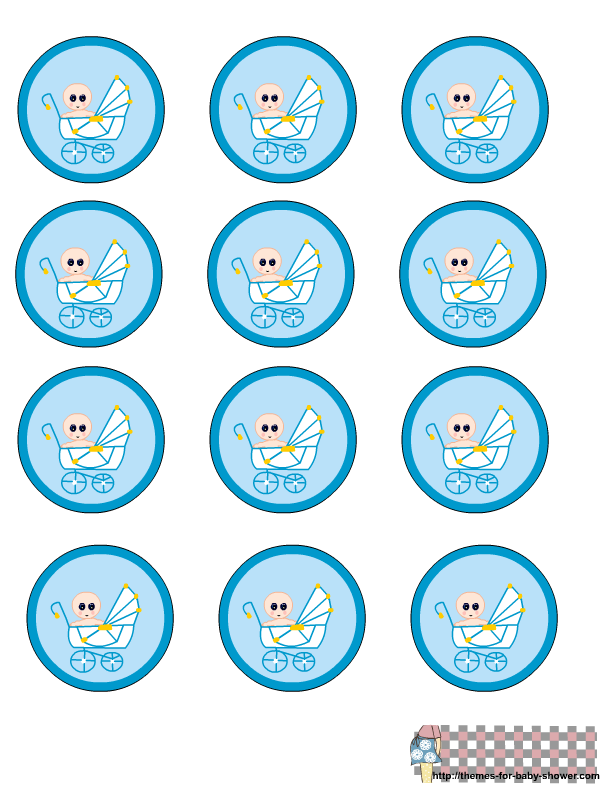 Free printable blue round. Label clipart baby shower