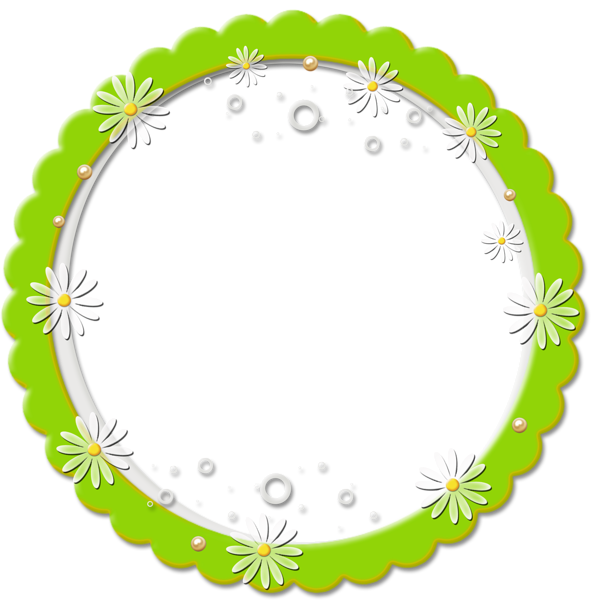 Png round daisy frame. Label clipart cute