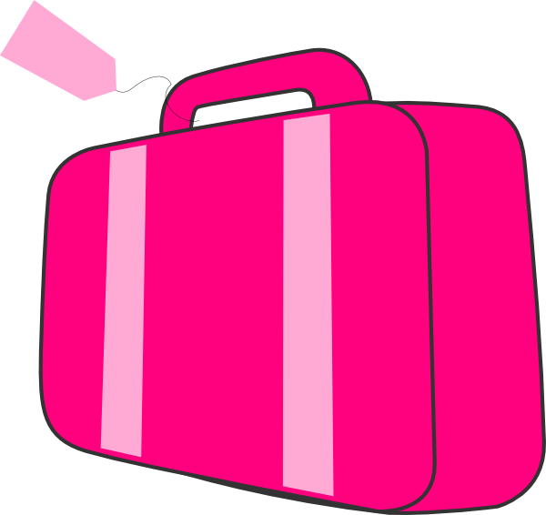 Luggage clipart cartoon. Pink suitcase clip art