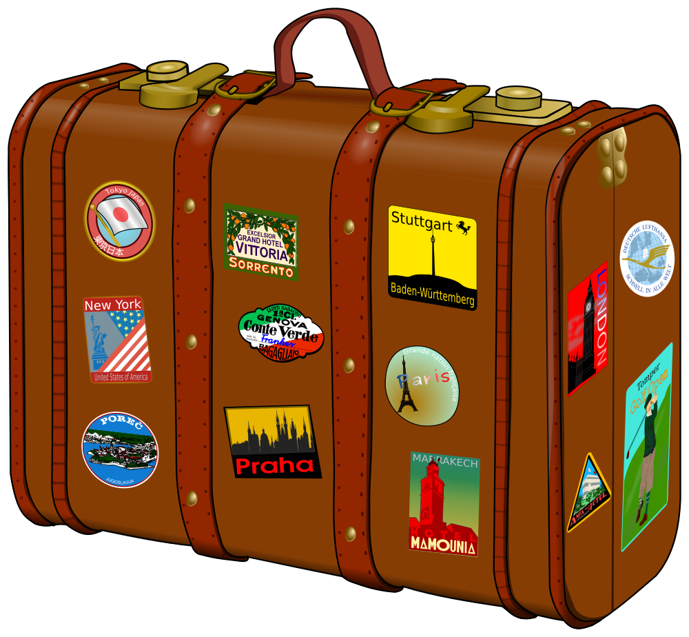 OnlineLabels Clip Art - Suitcase With Stickers