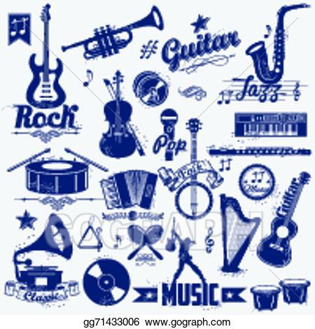 Label clipart music. Vector art retro eps
