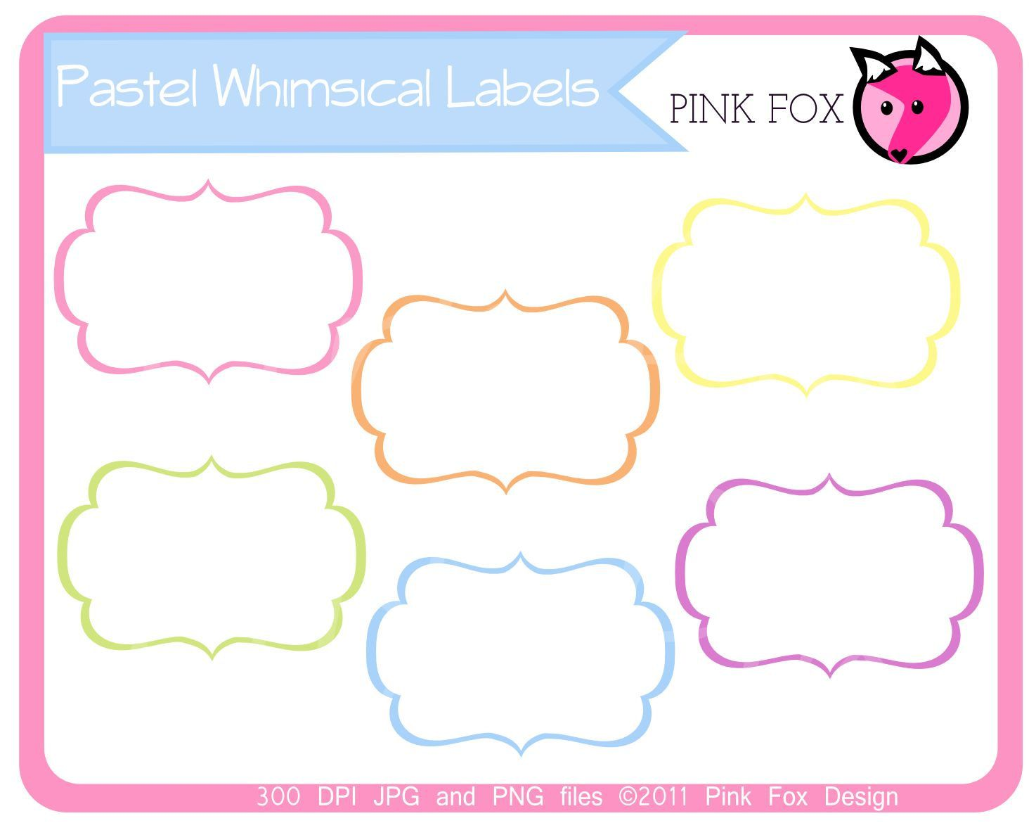 Label clipart pastel. Instant download whimsical labels