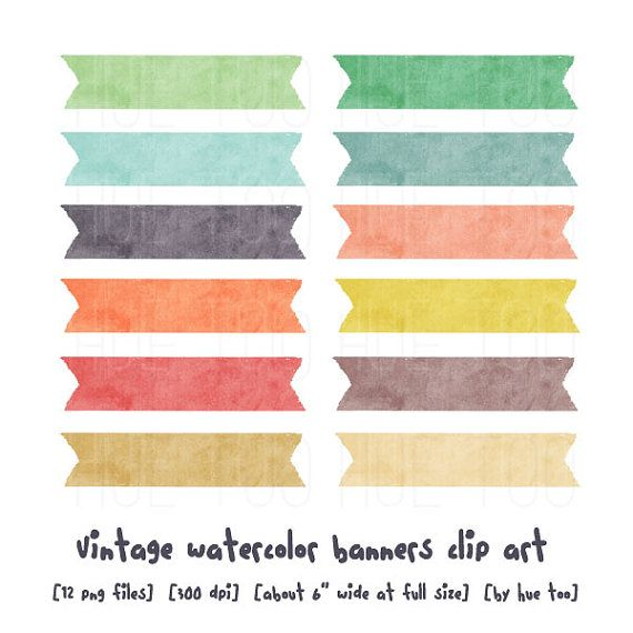 Label clipart pastel. Watercolor ribbons clip art