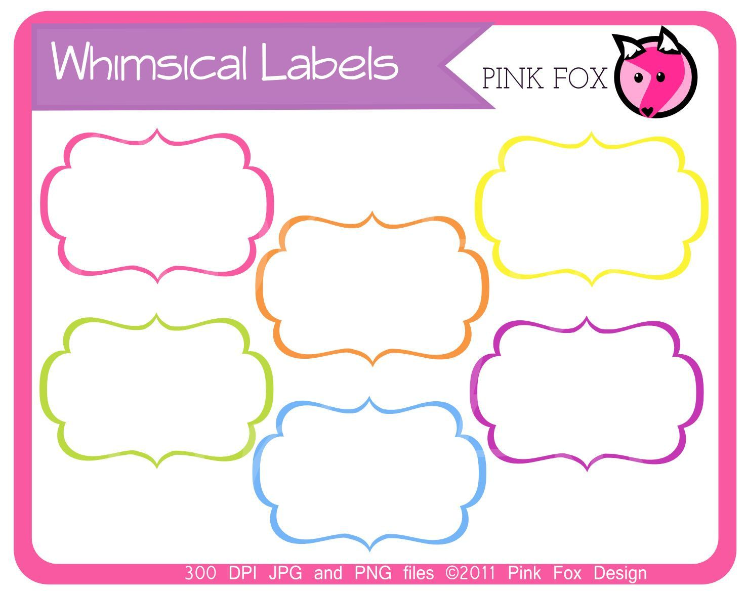 Label clipart printable. Instant download whimsical labels