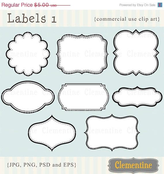 Printable labels clip art. Scrapbook clipart label