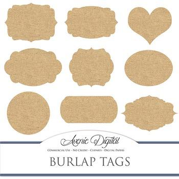 Label clipart scrapbook. Digital burlap tags clip