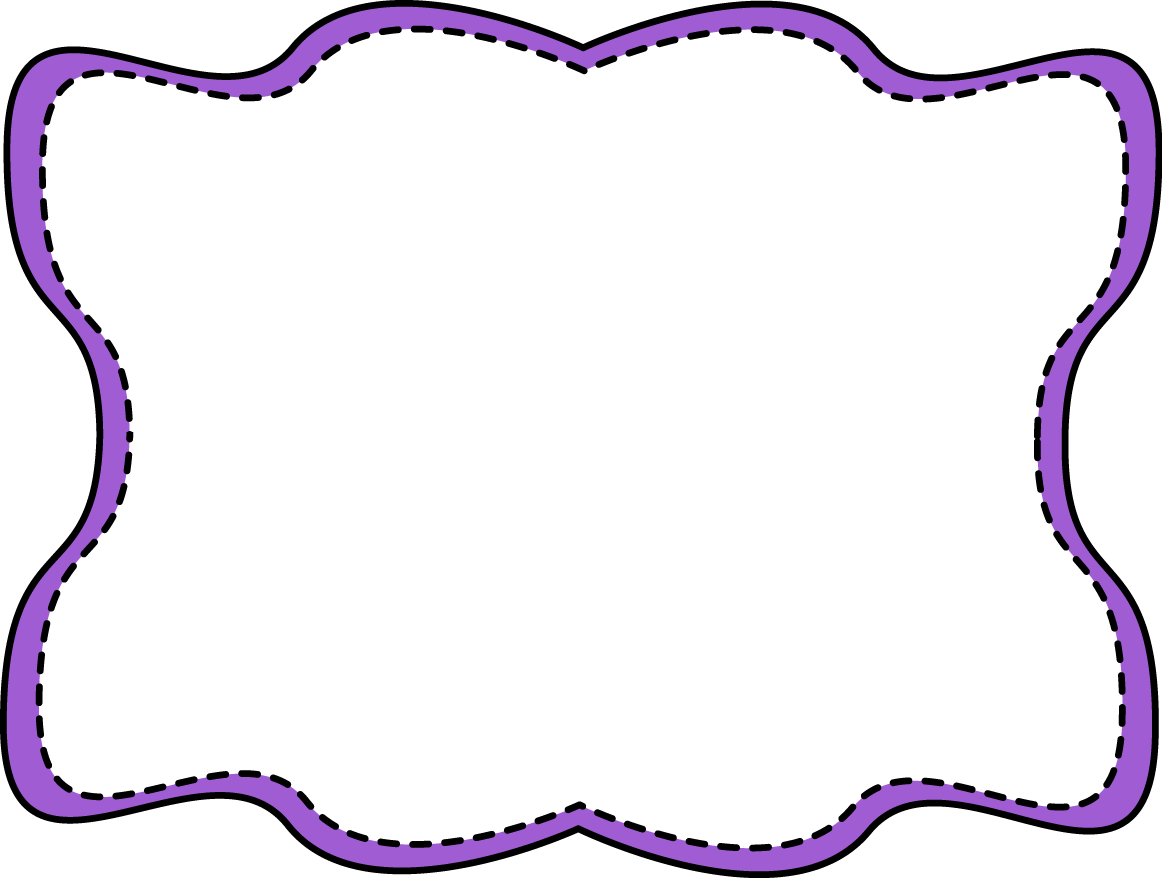 Purple wavy stitched frame. Pasta clipart border