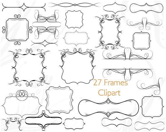 Frame clip art square. Label clipart victorian