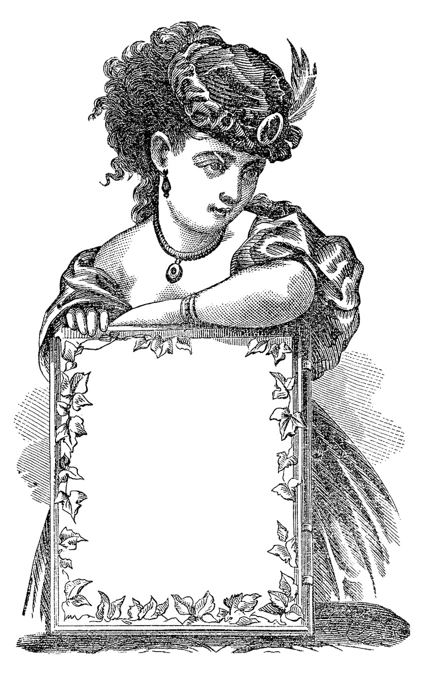 ladies with signs. Label clipart victorian