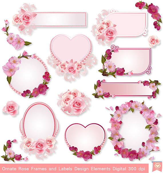 Label clipart wedding invitation. Instant download ornate rose