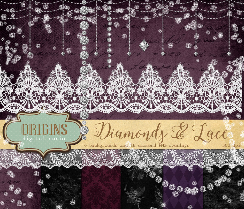 Lace clipart. Diamonds and