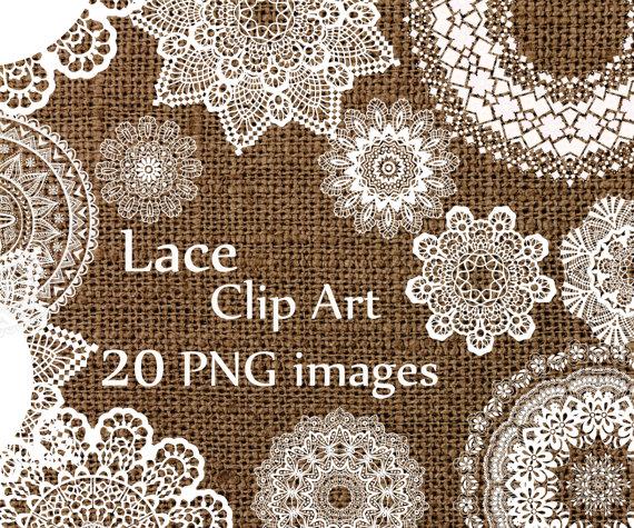 Digital clip art wedding. Lace clipart
