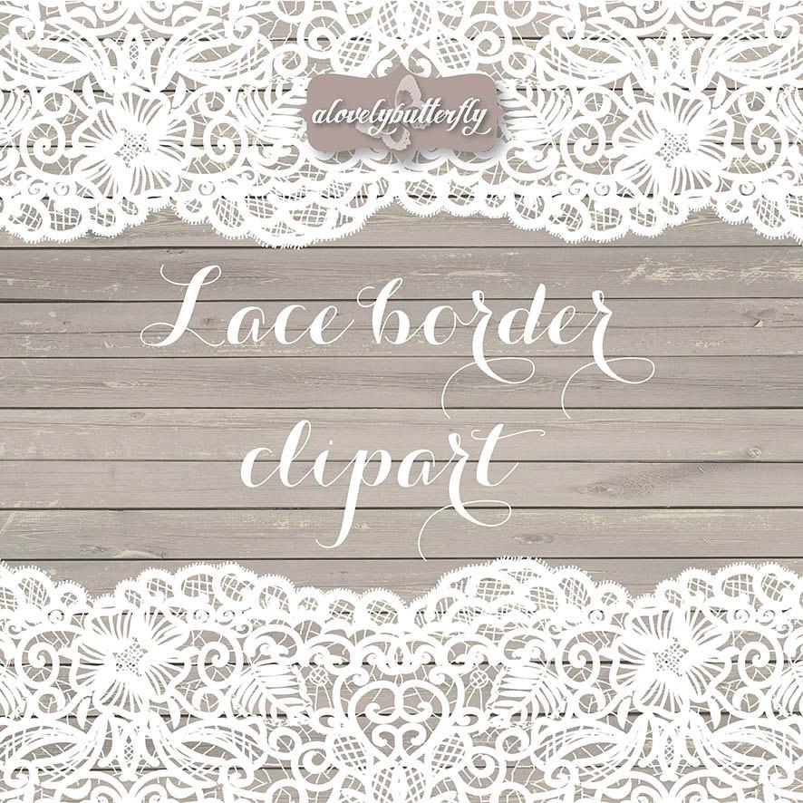 Vector wedding border rustic. Lace clipart