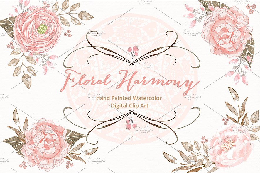 Lace clipart. Vector floral harmony illustrations