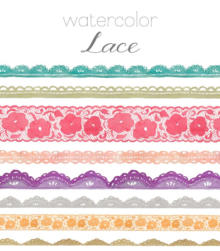 Lace clipart. Watercolor clip art
