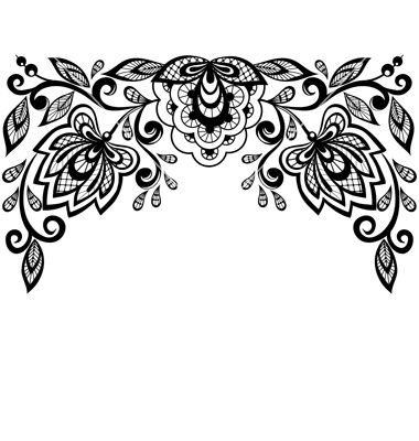 Lace clipart black and white. Flowers leaves isolated o