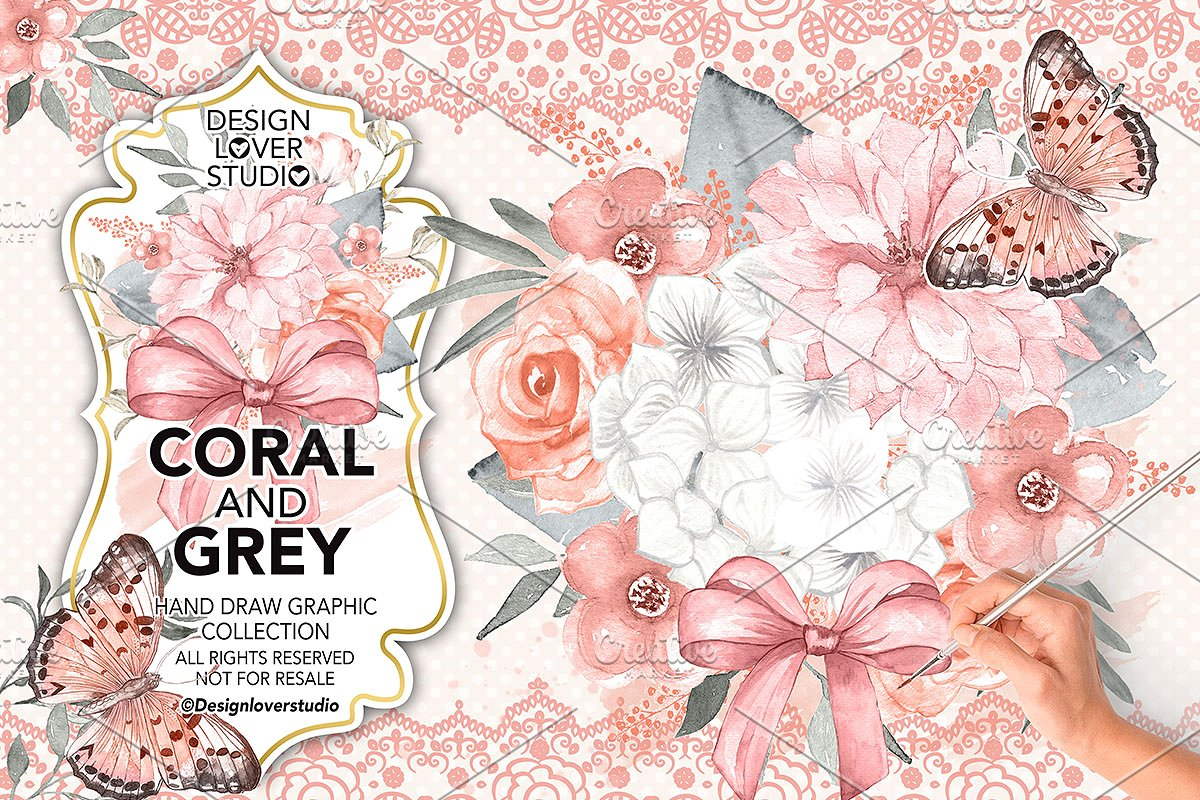 Lace clipart blush lace. Watercolor coral and grey