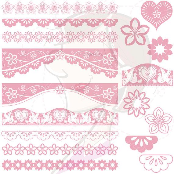 Lace clipart blush lace. Papel picado pink borders