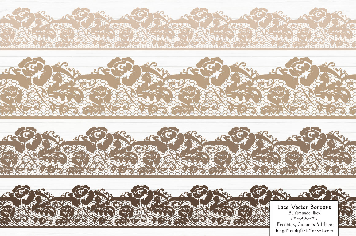 Border in champagne mandy. Lace clipart brown lace