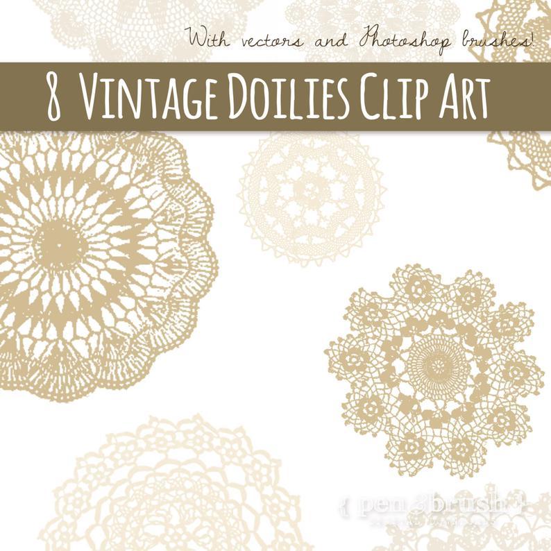 Lace clipart cream lace. Vintage doilies sepia doily