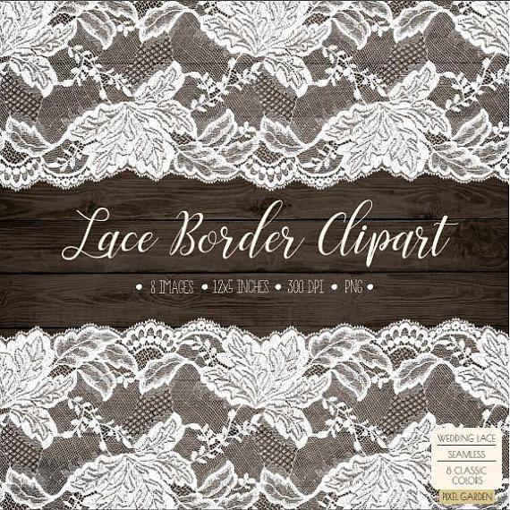 Wedding rustic border clip. Lace clipart cream lace