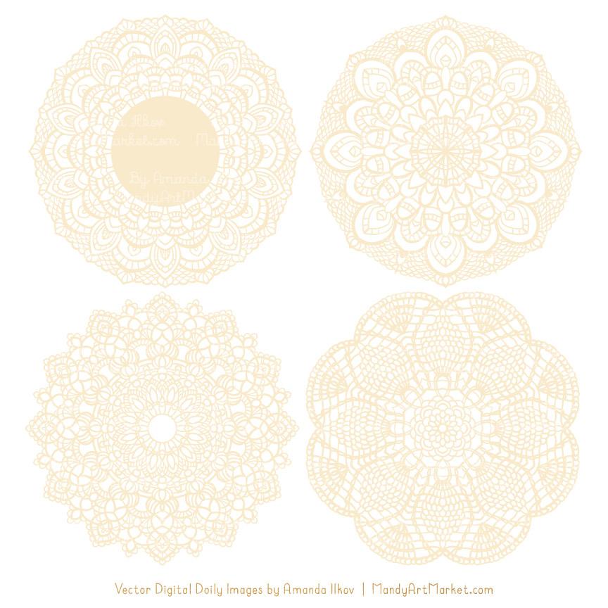 Lace clipart cream lace. Round doily vectors