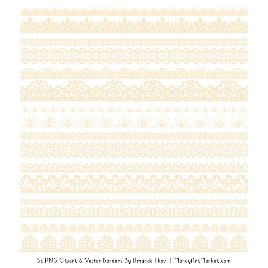 Lace clipart cream lace. Digital borders