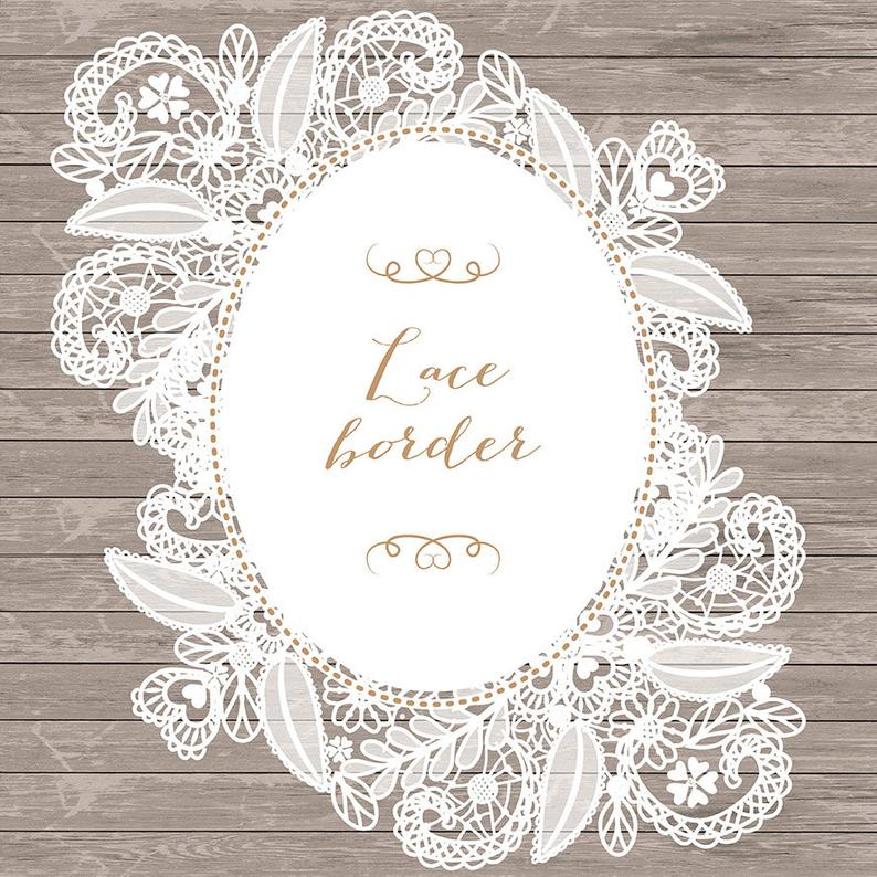 Lace clipart frame. Border rustic wedding invitation