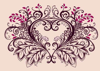 Free peach flowers materials. Lace clipart heart shaped