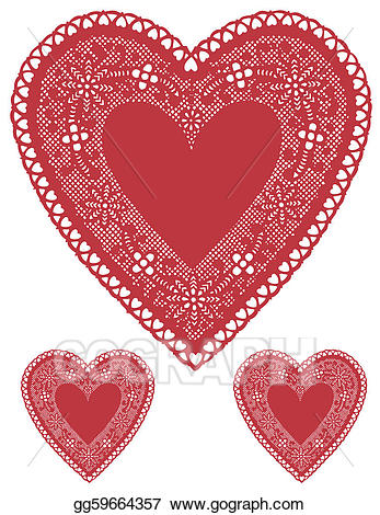 Lace clipart heart shaped. Vector illustration antique red