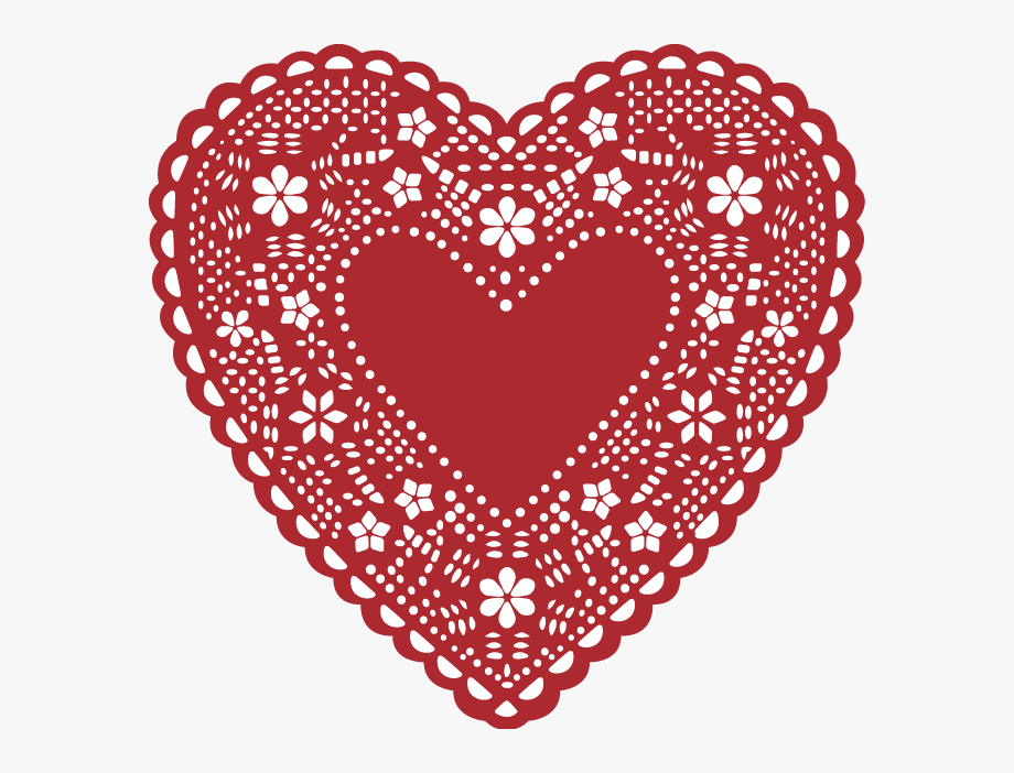 Lace clipart heart shaped. Doily valentine s day