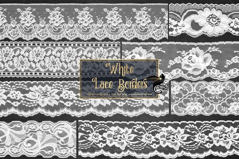 Lace clipart lace digital. White vintage borders clip