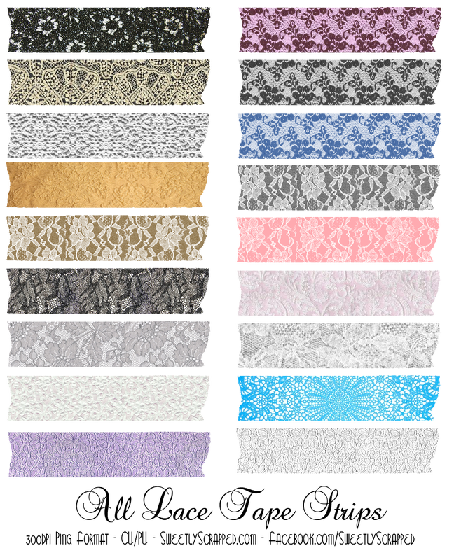 Tape strips sweetly scrapped. Lace clipart lace digital