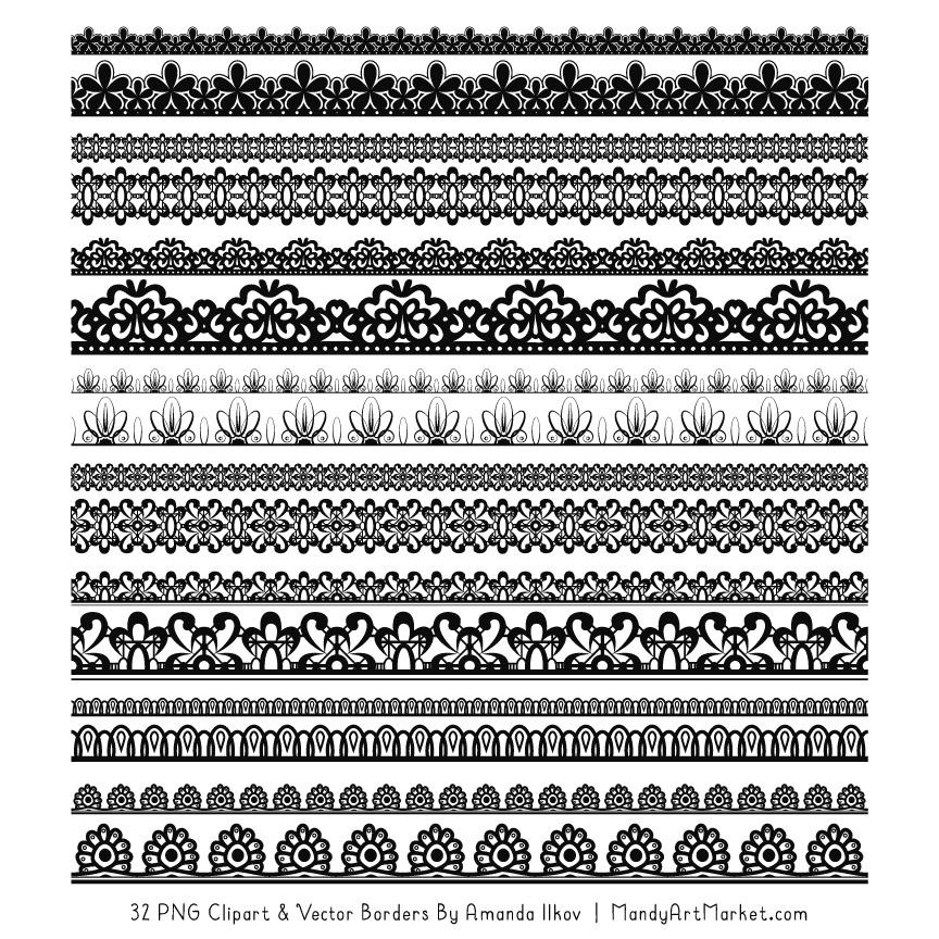 Lace clipart lace digital. Black borders
