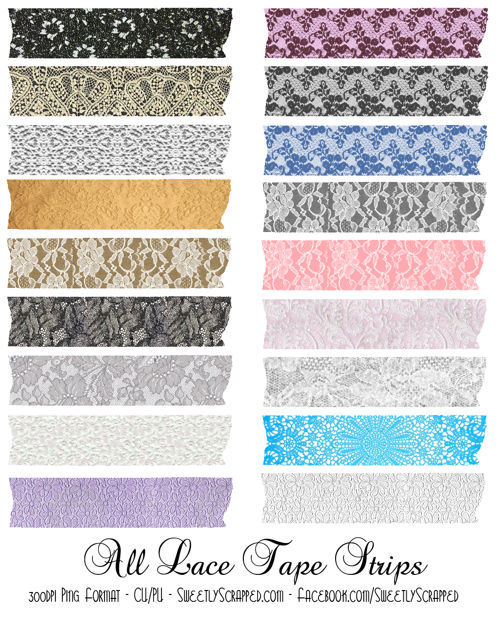 Lace clipart lace print. Digital tape strips washi