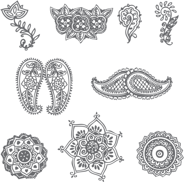 Lace clipart mehandi design. These are a few