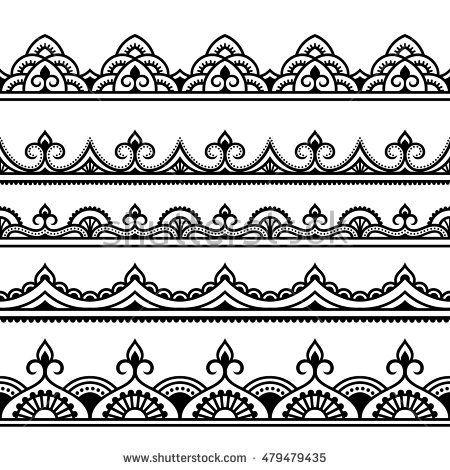Vector henna seamless borders. Lace clipart mehandi design