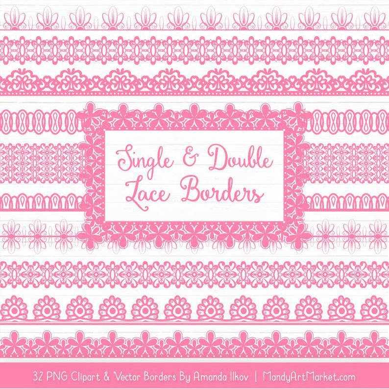 Lace clipart pink lace. Borders vectors vector