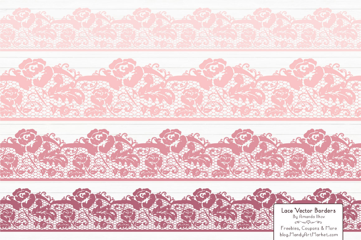 Border in soft mandy. Lace clipart pink lace
