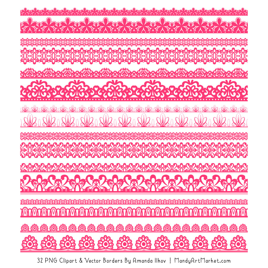 Lace clipart pink lace. Hot digital borders
