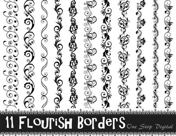 Instant download black flourish. Lace clipart swirl