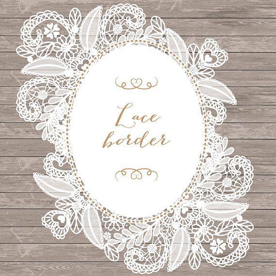 Lace clipart vintage lace. Border rustic wedding invitation