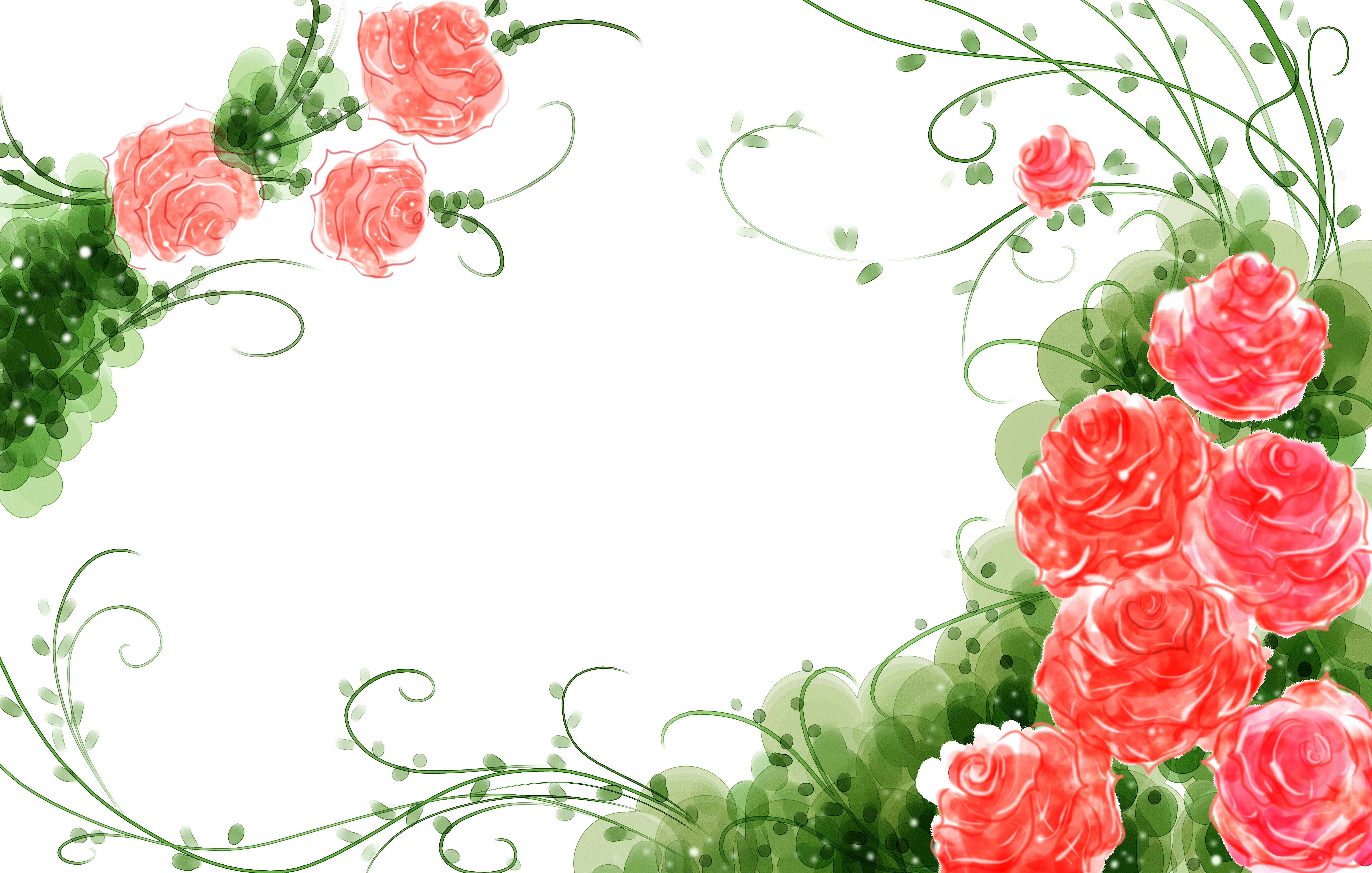 Vines clipart watercolor. Garden roses flower painting