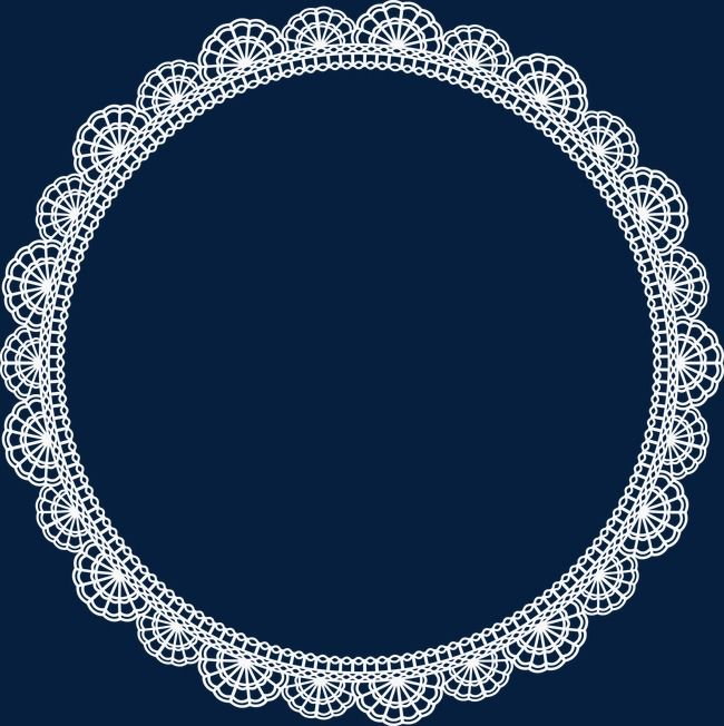 Round white border png. Oval clipart lace