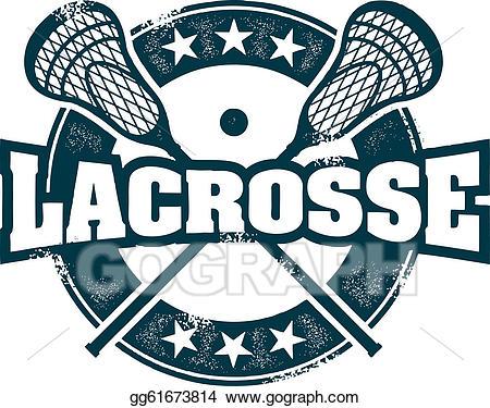 Vector sport stamp illustration. Lacrosse clipart blue