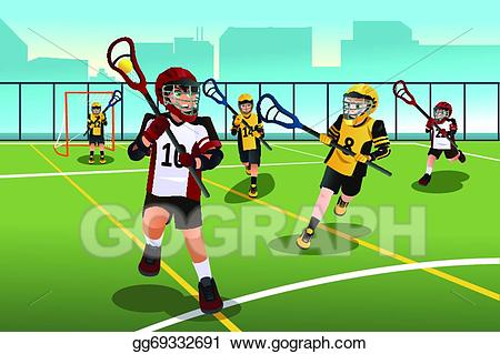 Vector stock kids playing. Lacrosse clipart boys lacrosse