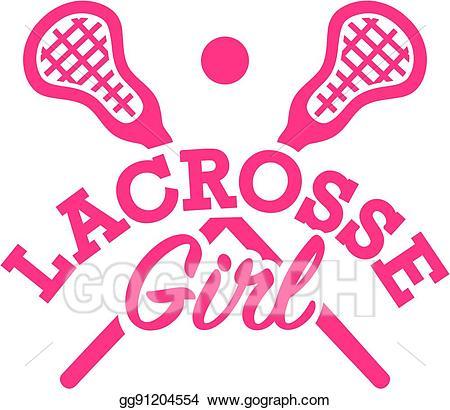 Lacrosse clipart girl logo. Vector illustration stock clip