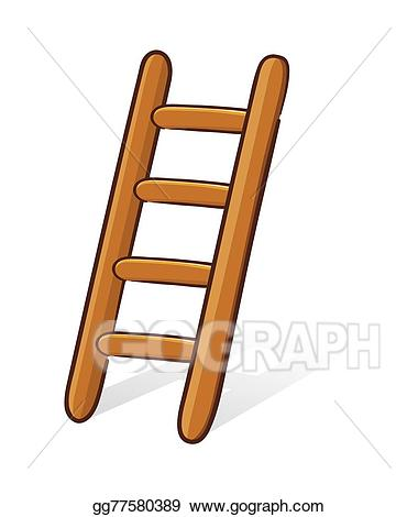 Vector stock wooden illustration. Ladder clipart